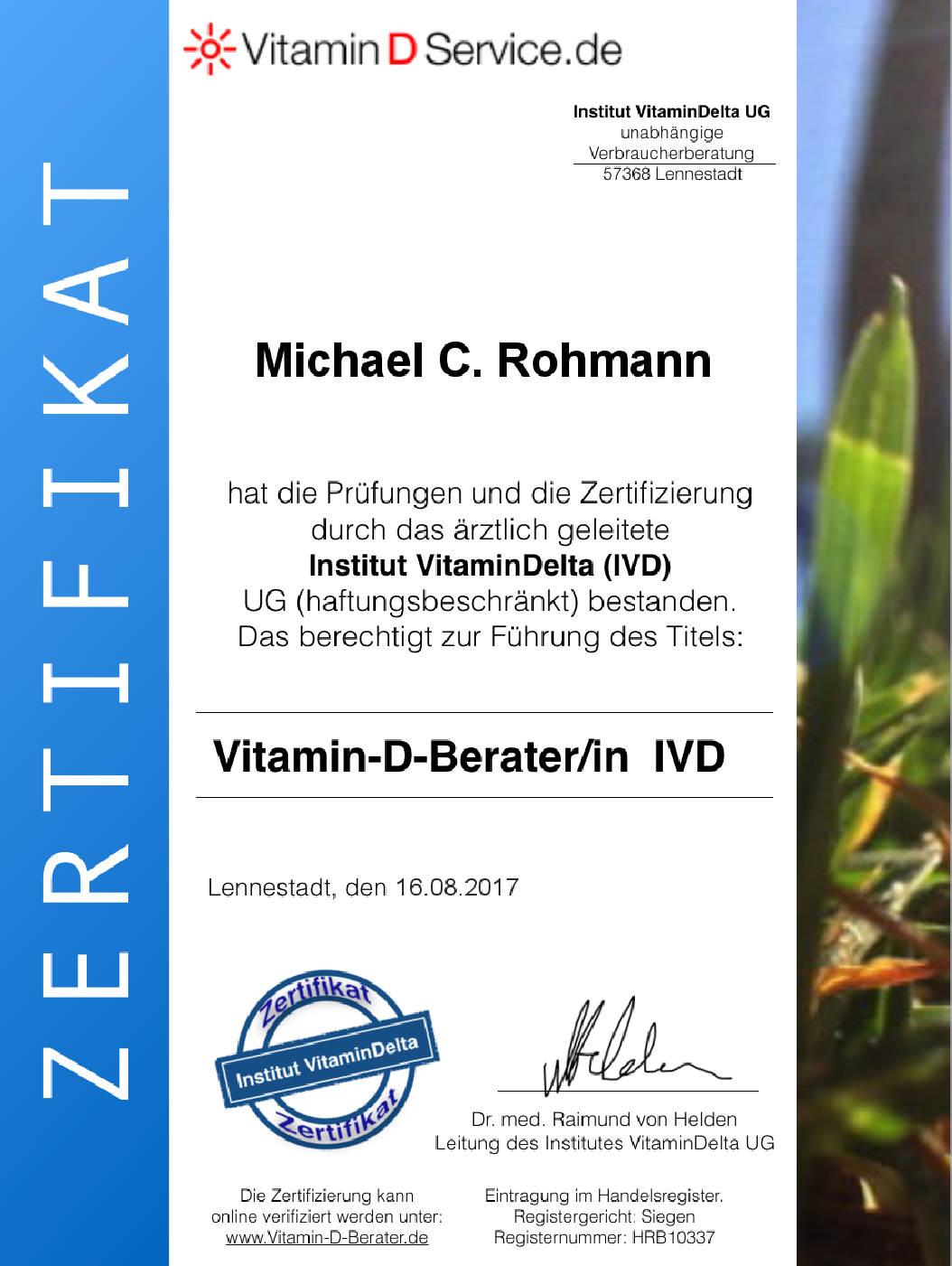 Michael Rohmann Ernährungsberatung Mannheim Zertifikat Vitamin D Beratung